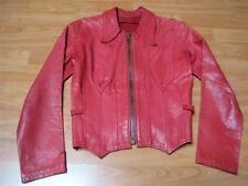 Vtg 60s 70s Red East West Musical Instruments Leather Jacket Coat Boho Hippie