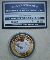 1 OZ  SILVER STUNNER TOKEN UNICORN LIM ED  78  OF 500 GOLD & SILVER