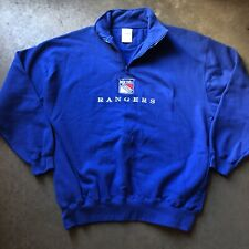 Men's Vintage 90's Brandon New York NY Rangers 1/4 Zip Blue Sweatshirt Sz XL VTG