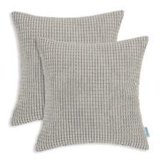 "2Pcs Light Taupe Throw Pillows Covers Shells Corn Soft Corduroy Striped 22 x 22"""