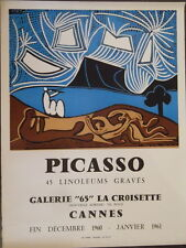 Picasso Affiche Galerie 65 La Croisette Cannes 1961 imp Arnera Vallauris P1830