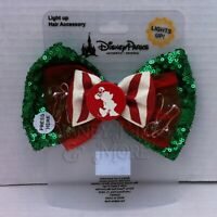 Disney Parks Interchangeable Ears Light Up Christmas Sequin Minnie Mouse Bow