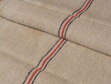 Antique European Feed Sack GRAIN SACK Red & Blue Stripe # 10503