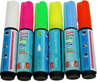 6 pcs 10mm Highlighter Fluorescent Liquid Chalk Marker Pen for LED Writing Board