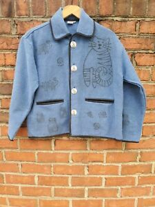 Venus Imports M Button Up Cat Tunic Jacket 100% Woven Cotton Blue Kitty Cat