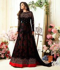 Diwali Indian Ethnic Pakistani Embroidery Black UnStitch Salwar Dress Gown