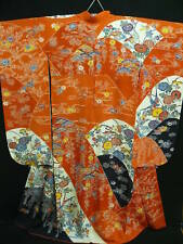 "Orange Silk ""BINGATA Chirimen Furisode"" w/Birds, Flowers H709"