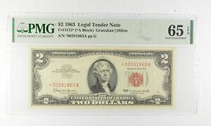 1963 $2 FR1513* (*A Block) Red Seal Graded PMG - 65 EPQ Legal Tender *793