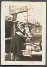 Vintage Car Photo Woman & Boy w/ 1942 Buick & Budweiser Beer Sign 672576