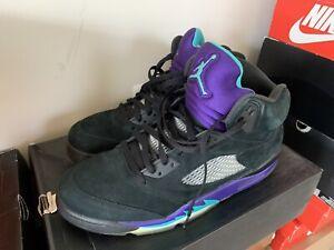 Nike Air Jordan 5 Retro 2013 Black Grape Size 11.5 Black Purple Emerald