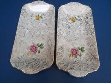 Pair of Cream Royal Tudor Ware Flowered Oblong Plates good condition ?50's