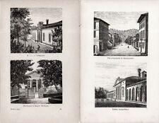 Stampa antica MONTECATINI TERME Serie di 4 vedute Toscana Pistoia 1885 Old print