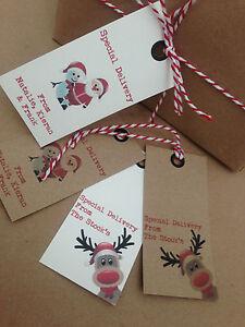 24 Personalised vintage/retro christmas tags reindeer,santa,snowman