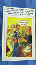Bamforth Comic Postcard 1950s JUST MARRIED Registry Office INSURANCE COVER NOTE