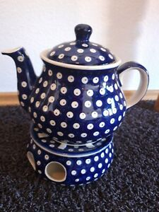 Bunzlauer Keramik Teekanne mit Stövchen Muster 10k - NEU