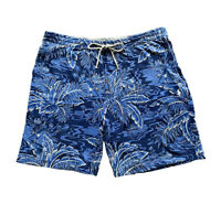 Polo Ralph Lauren Mens Big & Tall Blue Hawaiian Print Sweat Shorts Lounge Casual
