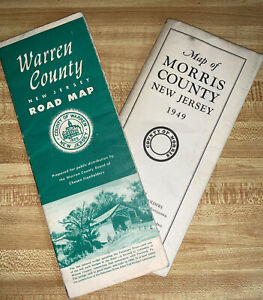 1939 Road Map of Morris County, New Jersey AND Warren County NJ / folding paper