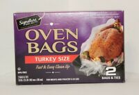 2 Kitchen Oven Bags & Ties - Turkey Size Meat & Poultry 8 to 24 lbs BPA free