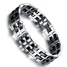 Men's Silver Tungsten Carbide Black Ceramic Tow Tone Polished Link Bracelet