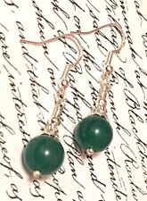 Handmade Silver Plated Round Jade Costume Earrings