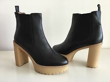 RED VALENTINO BLACK PLATFORM BLOCK HEEL ANKLE BOOTS, SIZE 41