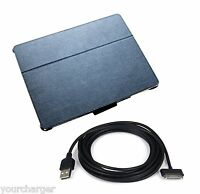 3M 10ft LONG USB Cable + BLACK PU Leather Case Snap on w/Folded Stand for iPad 2