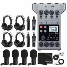 Zoom PodTrak P4 Portable Multitrack Podcast Recorder + 4x Zoom M-1 Mic + More