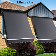Outdoor Window Shade Awning Privacy Screen Canopy Waterproof Blind Grey 1.8M