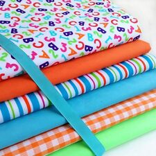 Fat Quarters Bundles ABC 123 Nursery Stripe Gingham Lime Orange Fabric Craft A46