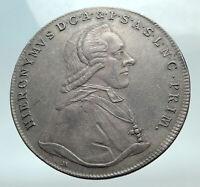 1790 AUSTRIAN SALZBURG Colloredo PATRON of MOZART Silver Thaler Coin i82261