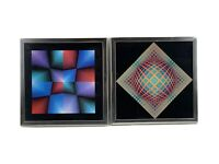 Vtg Pair Framed Victor Vasarely Op Art Print Mid Century Pauk & Vega 201