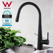 Slimline Round Gooseneck Brass Kitchen Sink Mixer Tap Faucet Pull Out MATT BLACK