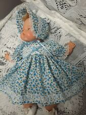 "Doll Clothes For 14� Tiny Thumbelina ""Sweet Blue Floral Dress Set� by Maureen"