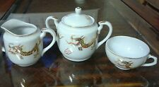 Japanese porcelain Sugar & Cream Set And 1-Teacup  Gold Dragon Motif