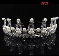 Pearl Head Tiara Crystal Hair Pageant Princess Queen Crown Birthday Wedding S8C3
