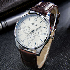 Men`s Quality Silver Quartz White Dial Military Style Brown Band Wrist Watch.