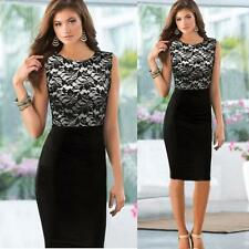 Slim Women vintage Lace Sleeveless Bodycon Cocktail gift Party Pencil Dress M US