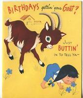 VINTAGE AMERICAN GREETINGS GOAT KID FARM ANIMALS GIRL PIGTAILS COMICAL CUTE CARD