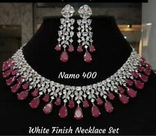 Indian Bollywood CZ AD Wedding Gold Fashion Jewelry Choker Ruby Necklace Set PI