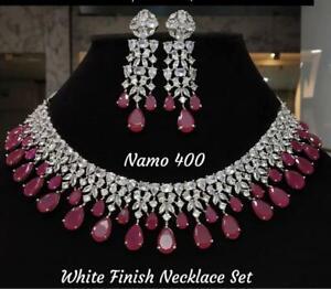 Indian Bollywood CZ AD Wedding Gold Fashion Jewelry Choker Ruby Necklace Set PI