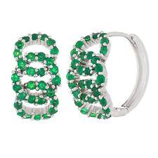 14k White Gold Emerald Eternity Circle Pave Huggie Hoop Earrings