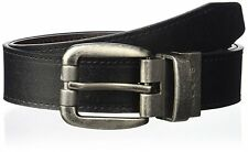 $225 LEVI'S Mens BLACK BROWN CASUAL LEATHER REVERSIBLE ROLL-BUCKLE DRESS BELT 34