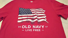 OLD NAVY 2017 American Flag RED T- SHIRT Kids Youth XL 14-16 NWOT Short ADULT S?