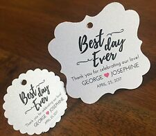 Wedding Favor Tags, Best Day Ever. Heart Favor Tags Thank You Wedding Tags.