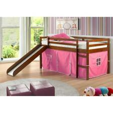 Donco Kids Twin Loft Tent Bed With Slide - Light Espresso