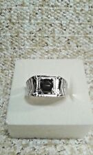 THAI BLACK SPINEL STAINLESS STEEL MEN'S RING (SIZE 12 1/2) TGW 0.50 CTS