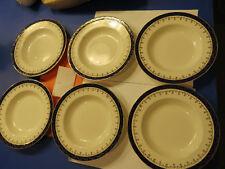 6 Bleu de Roi Alfred Meakin 7 3/4 inch bowls Gold trim , England  RARE