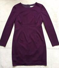 Trina Turk Women's Sheath Dress, Size 12, Burgundy, Long Sleeves, Back Zipper