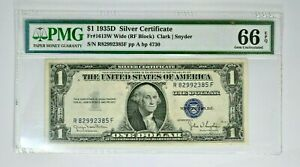 1935D $1 Silver Certificate PMG 66 Gem Unc. EPQ SI-OY 99c NR