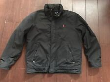 POLO RALPH LAUREN Mens JACKET, Red Pony Perry Lined, MEDIUM, Black w Hood, EUC